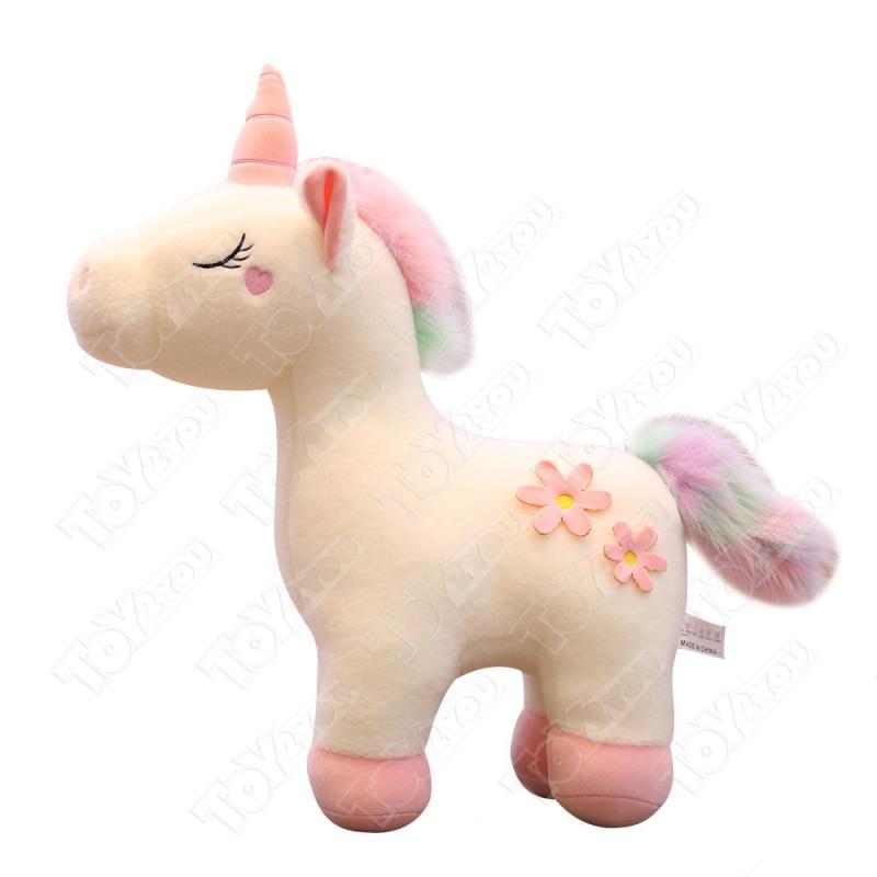 Мягкая игрушка Единорог розовый - радужный 60 см