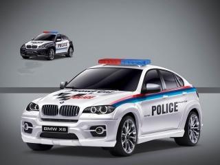 Машина на радиоуправлении BMW X6 Police (белая) 866-1401PB