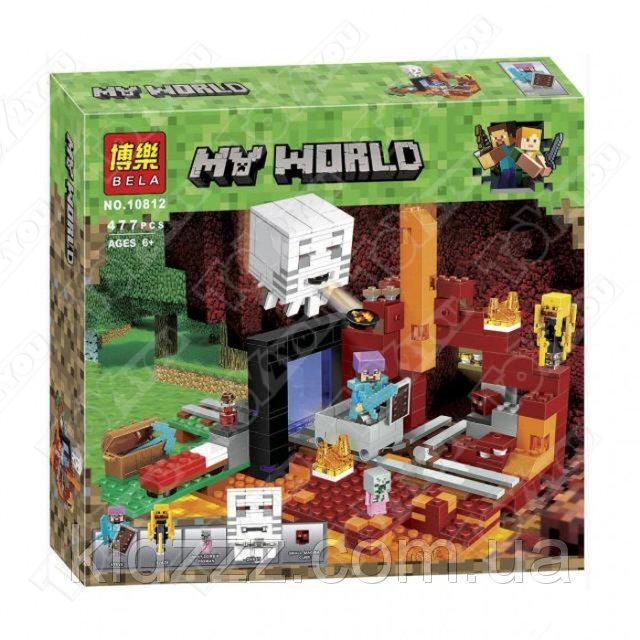 Конструктор MY World Портал в подземелье Майнкрафт 21143 BELA 10812(477 детали)