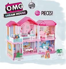 Загородный домик куколок ЛОЛ 2 этажа, дворик и терраса. (O.M.G Dream House) 151 деталь