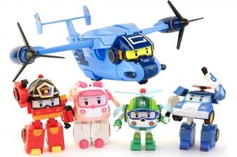 Набор трансформеров Робокар Поли 4 машинки + 1 Самолет (Robocar Poli)