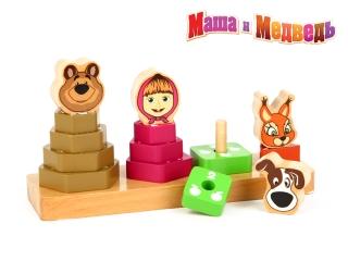Логика GT6017 Пирамидки Маша и Медведь, дерево ТМ Маша и Медведь