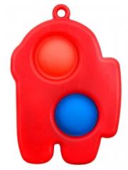 Симпл Димпл вечная пупырка антистресс Амонг Ас мини брелок (красный)