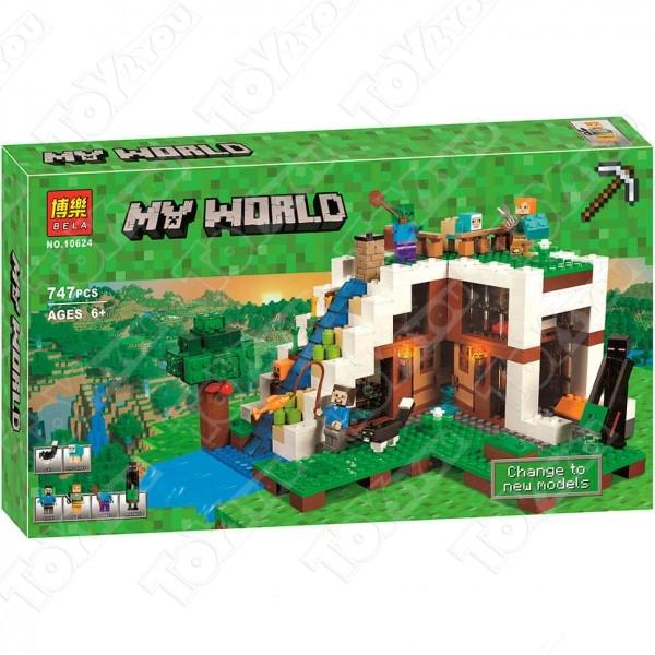 Конструктор MY World База на водопаде Майнкрафт 21134 BELA 10624(747 детали)