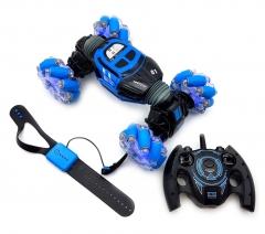 Машинка перевертыш HYPER SKIDDING c управлением жестами (34 см) синяя