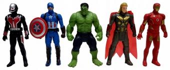 Набор Мстители 5 фигурок Железный человек, Капитан Америка, Тор, Халк, Муравей Супергерои 15 см.