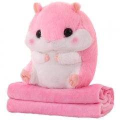 Хомяк с пледом мягкая игрушка 40 см розового цвета.