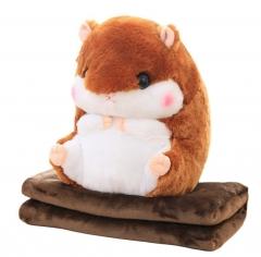 Хомяк с пледом мягкая игрушка 40 см темно коричневого цвета.