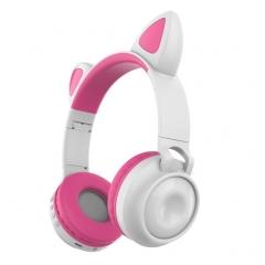 Беспроводные Bluetooth наушники Wireless Cat Ear Headphones ZW-028 (белые с розовым)