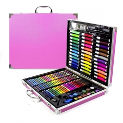 """Чемоданчик """"Набор Юного художника"""" для рисования в железном кейсе 150 предметов (розовый)"""