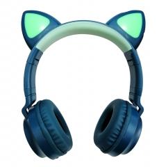 Беспроводные Bluetooth наушники Wireless Cat Ear Headphones ZW-028 (зеленые с голубым)