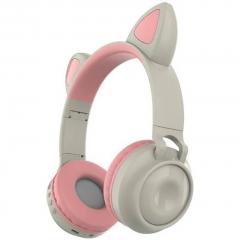 Беспроводные Bluetooth наушники Wireless Cat Ear Headphones ZW-028 (серые с розовым)