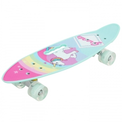Пенни борд (скейтборд) со светящимися колесами Единорог 61 см