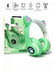 Беспроводные наушники Cat Ear P33M с bluetooth и светящимися кошачьими ушками и лапками, зеленые