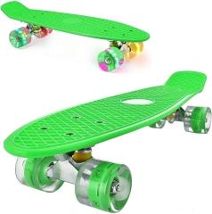 """Пенни борд (скейтборд) со светящимися колесами зеленый 55 см (22"""")"""