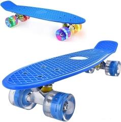 "Пенни борд (скейтборд) со светящимися колесами синий 55 см (22"")"