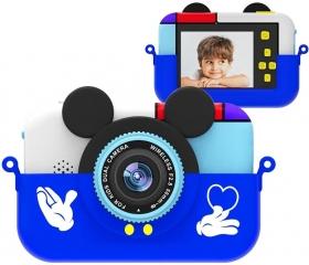 Детский цифровой фотоаппарат Микки Маус, синий (28 Мпикс) 2 камеры