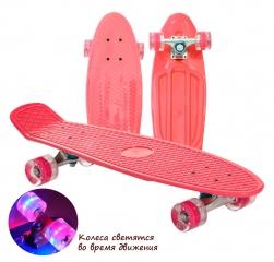 """Пенни борд (скейтборд) со светящимися колесами красный 75 см (30"""")"""