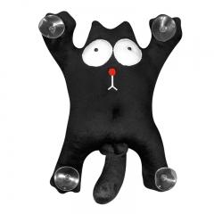 Мягкая игрушка на присосках Кот Саймон 28см большой (черный)