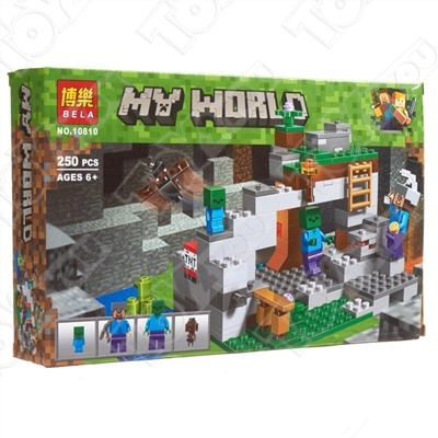Конструктор MY World Пещера зомби Майнкрафт 21141 BELA 10810 (250 детали)
