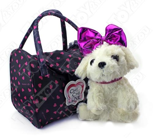 Мягкая собачка Чи-Чи Лав Болонка с бантиком и сумочкой (20 см)