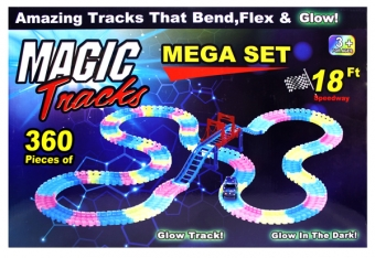 Гоночная трасса Magic Tracks 360 светящаяся Mega Set - 360 деталей + Мост