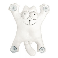 Мягкая игрушка на присосках Кот Саймон 28см большой (белый)