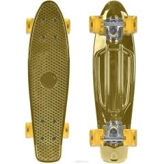 """Золотистый Пенни борд (скейтборд) со светящимися колесами 55 см (22"""")"""