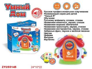 Дом ZYE-E0075 обучающий Умный Я с карточками, со светом и звуком, на батарейках, в коробке