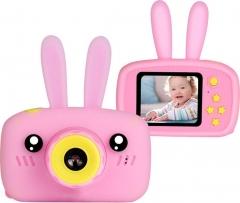 Детский Фотоаппарат Кролик Rabbit со встроенной памятью и играми Розовый