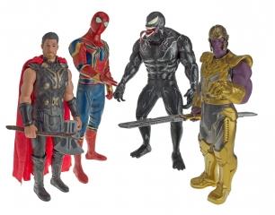 Набор супергероев 32 см. Танос, Человек - Паук, Веном, Тор.