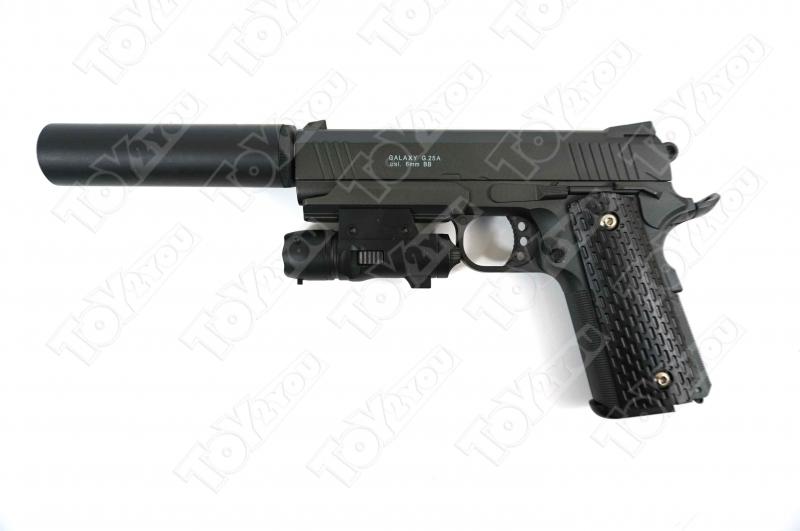 Детский пневматический пистолет из металла Colt M1911 Rail Gun G.25A с глушителем