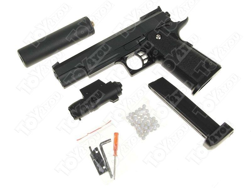 Детский пневматический пистолет из металла COLT 1911 PD G.6A с глушителем и ЛЦУ