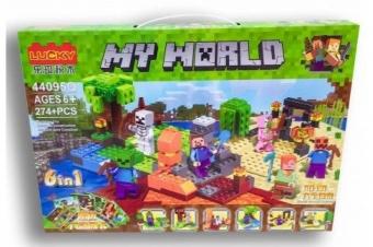 Конструктор Minecraft MY WORLD 6 в 1 274 детали (LUCKY 44095Q)