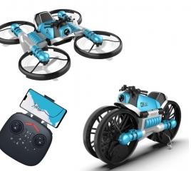 Мото-Квадрокоптер с камерой Fly Drive 2 в 1 LEAP управление жестами (синий)