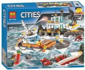 Конструктор  Штаб береговой охраны / Сити 844 деталей (City 10755)