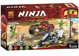Конструктор НиндзяГо Мотоцикл-клинок Кая и снегоход Зейна NinjaGo BELA 11161 400 деталей