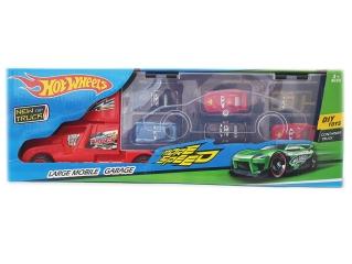 Автовоз красный + 6 машинок-тачки (HOT WHEELS)