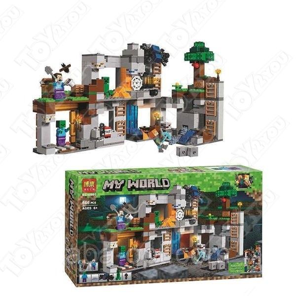 Конструктор MY World Приключения в шахтах Майнкрафт 21147 BELA 10990(666 детали)