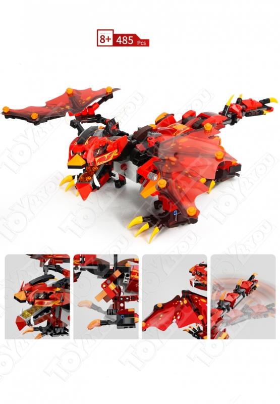 Конструктор Техникс/Нинзяго Огненный дракон Mould King Technic/Ninjago 13019 (485 деталей) с ПДУ