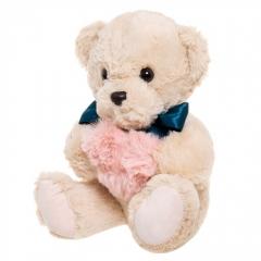 Мягкая игрушка Мишка с сердечком Бежевый 35см