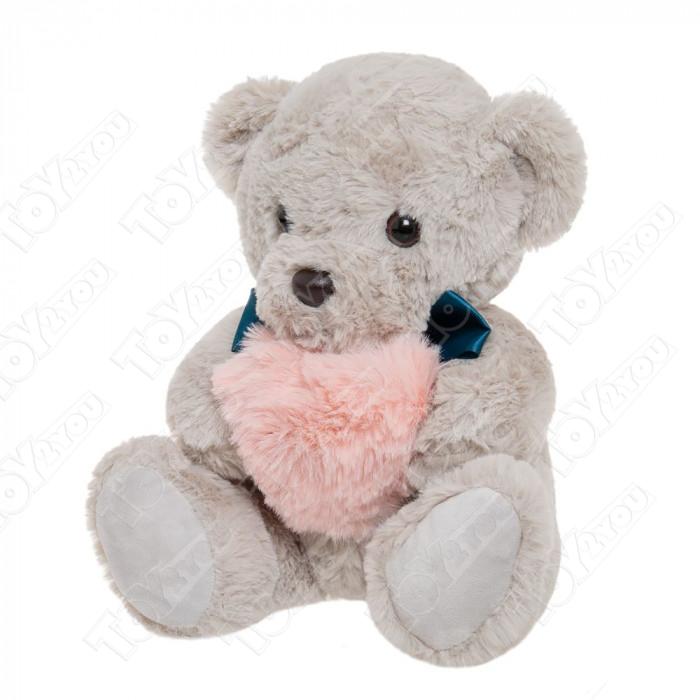 Мягкая игрушка Мишка с сердечком Серый 35см