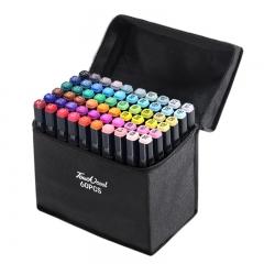 Набор двухсторонних маркеров 60 шт черные в чехле