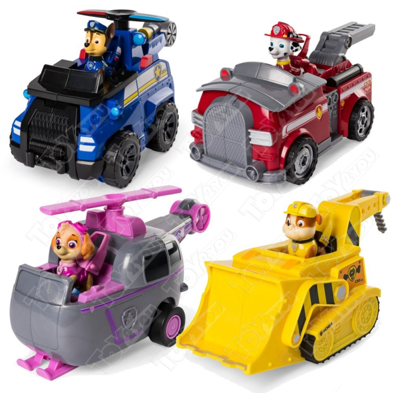Набор из 4 героев Щенячий Патруль на огромных машинках трансформерах.