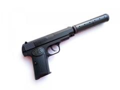 Игрушечный металлический пневматический пистолет Браунинг M1910 K-17A с глушителем