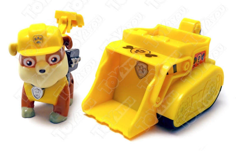 Щенячий патруль (Paw Patrol) - Крепыш с рюкзаком трансформером и машинка Бульдозер