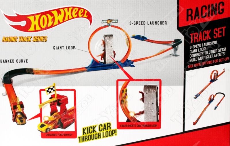 Трек Hot Wheels Мёртвая петля с промежуточным ускорителем + 2 машинки