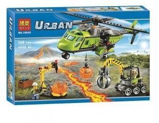 Конструктор Сити Грузовой вертолёт исследователей вулканов 348 деталей (60123 City 10640)