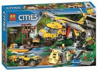 Конструктор  Вертолёт для доставки грузов в джунгли / Сити 1298 деталей (City 10713)