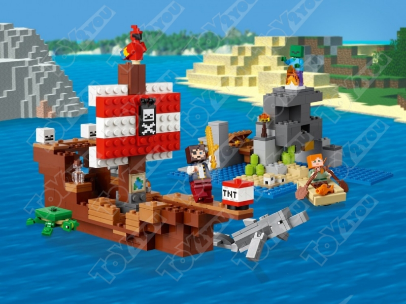 Конструктор MY World Приключения на пиратском корабле Майнкрафт 21152 11170(404 детали)